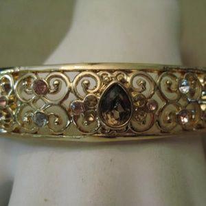 Filigree Amber Rhinestone Clamper Bangle Bracelet